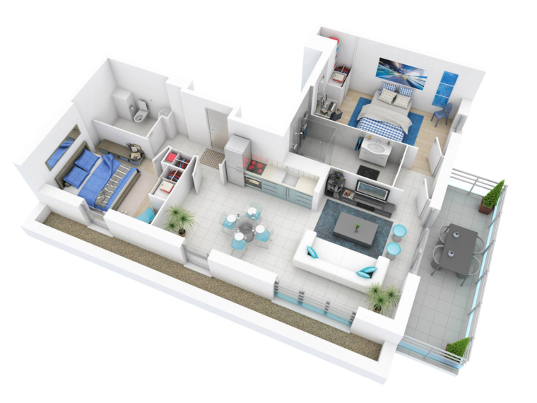Merveilleux Plan De Maison 2 Pièces En 3D Galerie