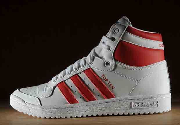 adidas Originals Top Ten Hi - White - Red - SneakerNews.com
