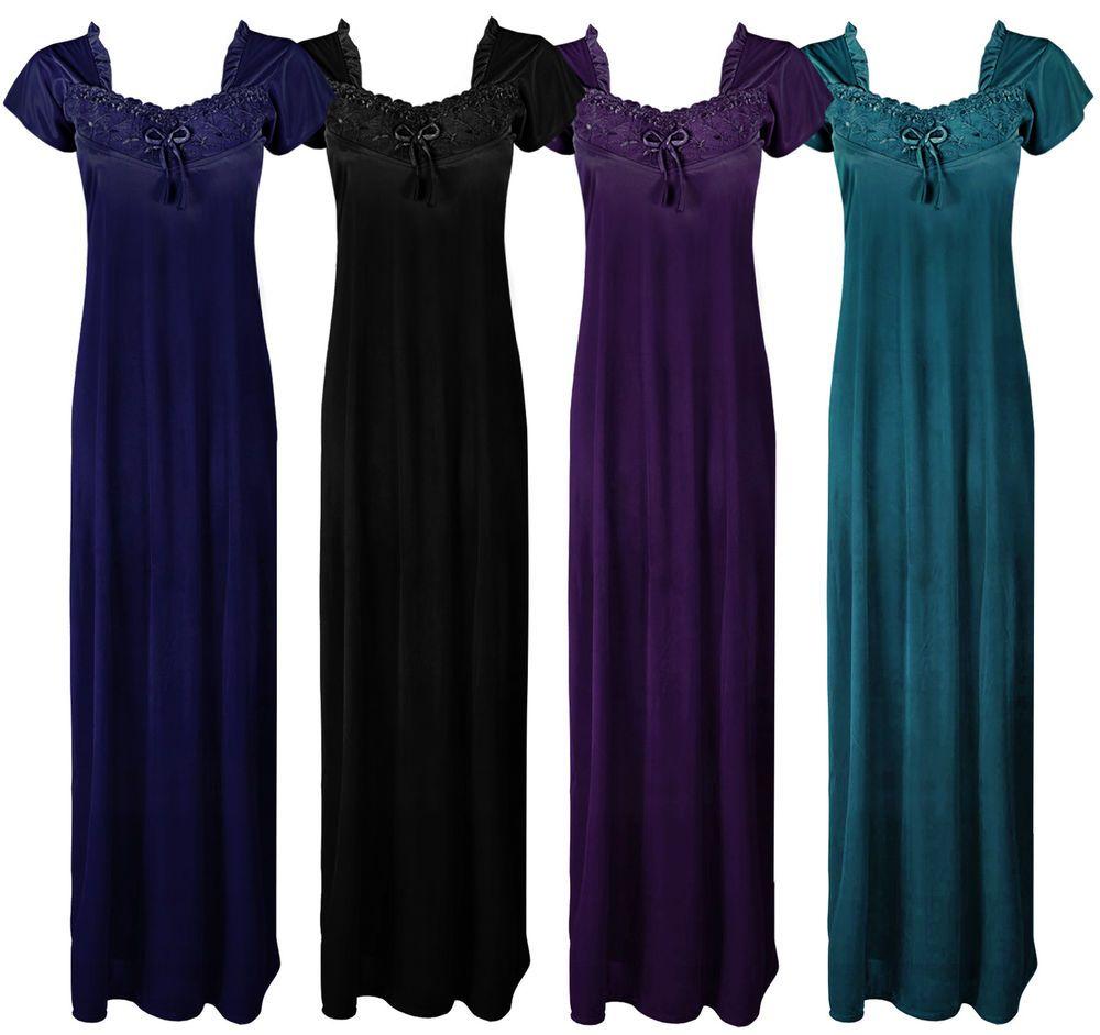 9063e206ac Womens plus size black long nightdress nightie lounger plus size 8 ...