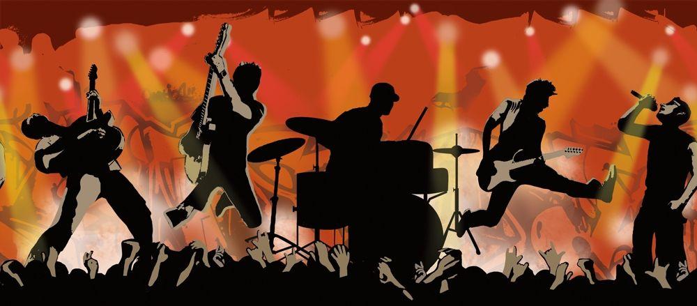 rock star theme bathrom Rock Show Wallpaper Border