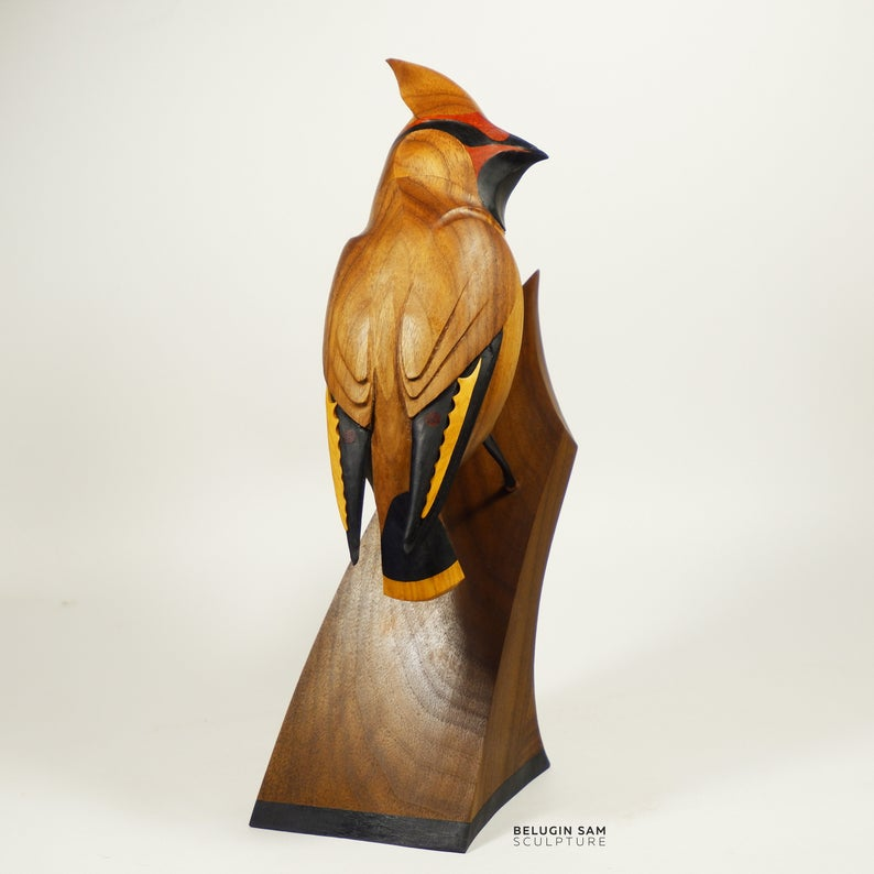 Waxwing Wooden Bird Decorative Bird Figurine Elegant Bird Etsy