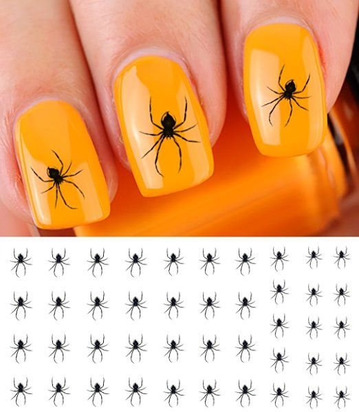 Scary Spider Halloween Water Slide Nail Art Decals Salon Quality
