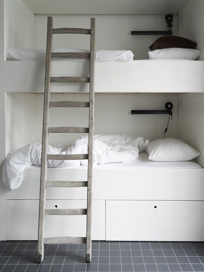 Built in loft bed ideas  minimalistic bunk bed  Kidus Room  Pinterest  White bunk beds