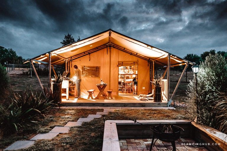 Spacious Luxury Camping Tent with a Private Hot Tub in