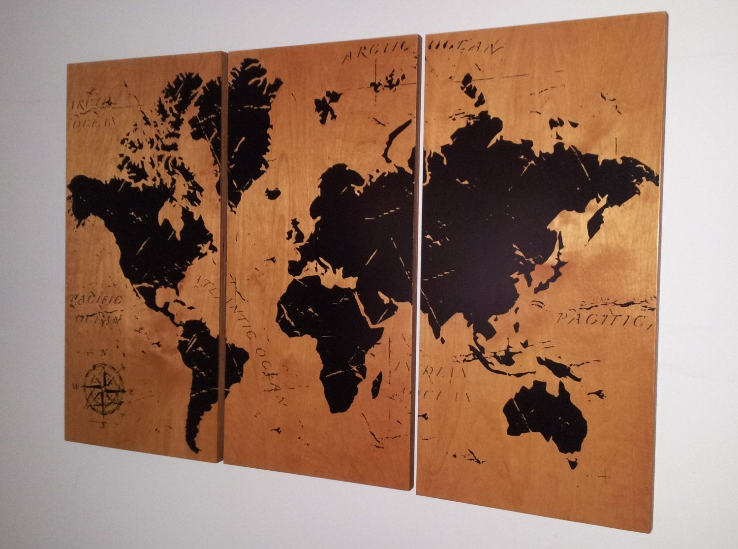 Vintage World Map Art.Vintage World Map Screen Print Wood Painting By Cedarworkshop