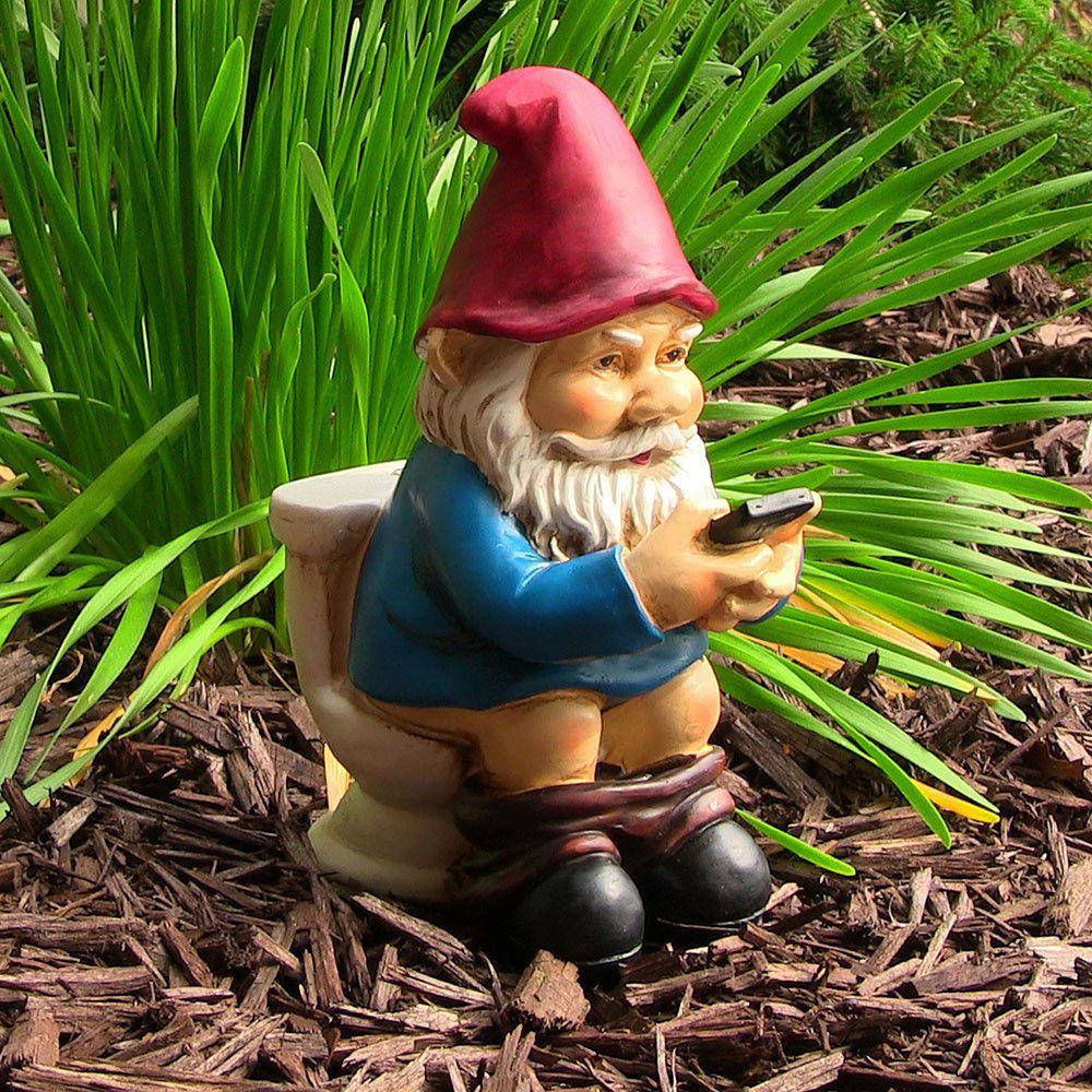 Garden Gnome Reading Phone Statue Yard Decor Outdoor Lawn Patio ...