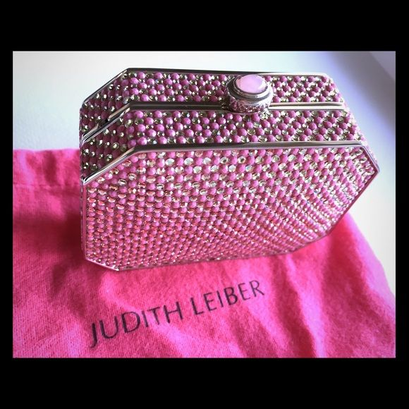 "Judith Leiber Pink Crystal Minaudier Gorgeous pink crystals adorn this rare bag with pink gem at top.  Never used.  Approximately 4"" x 3"" x 1.25"".  Dust bag included.  No trades. ⛄️Limited time bundle sale!  Save 20% when you bundle 3+ items.⛄️ Judith Leiber Bags"