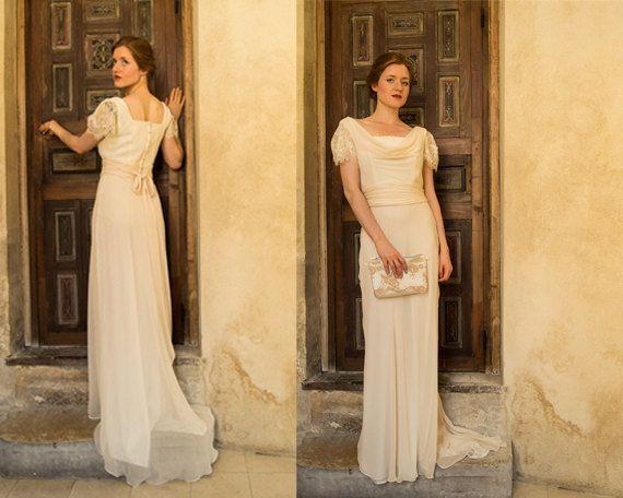 Vintage 1930s Inspired Bias Cut Cowl Neck Wedding Dress