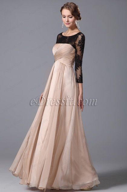 3427761e848b Elegant Empire Waist Evening Gown With Lace Sleeves (00153214) #fashion # dresses #eveningdresses #longsleeves #empire #formalwears