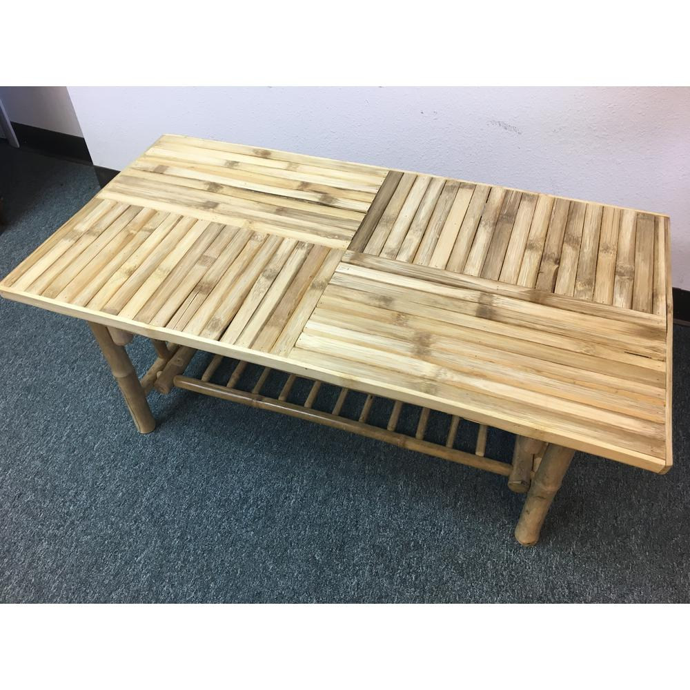 Mgp Natural Lacquer Finish Bamboo Coffee Table Green