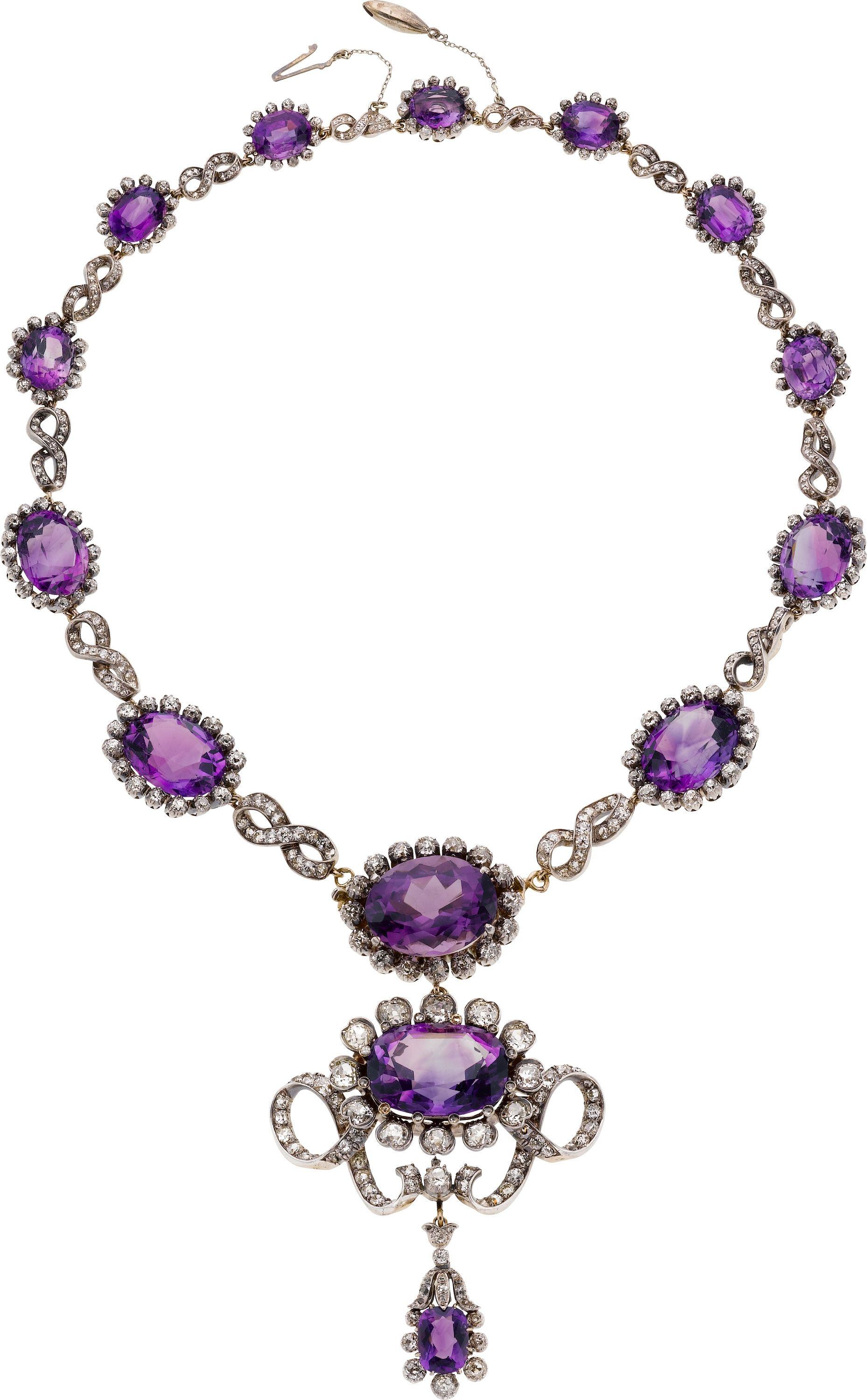 Victorian Amethyst, Diamond, Silver-Topped Gold Necklace, | Lot #58145 | Heritage Auctions