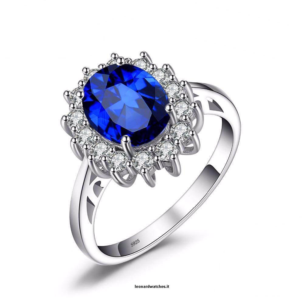 rings shape metal pin and ring patterns diana princess blue sapphire artificial