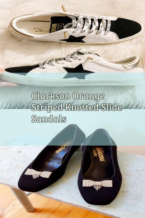puerta artería póngase en fila  Clarkson Orange Striped Knotted Slide Sandals in 2020 | Mbt shoes, Skechers  shoes, Sandals