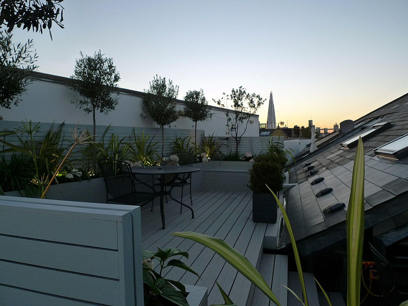 Painted Trellis Ideas Part - 34: Hardwood Screen Trellis Horizontal Slats Painted Grey Raised Beds Composite  Grey Decking Roof Terrace Garden Design