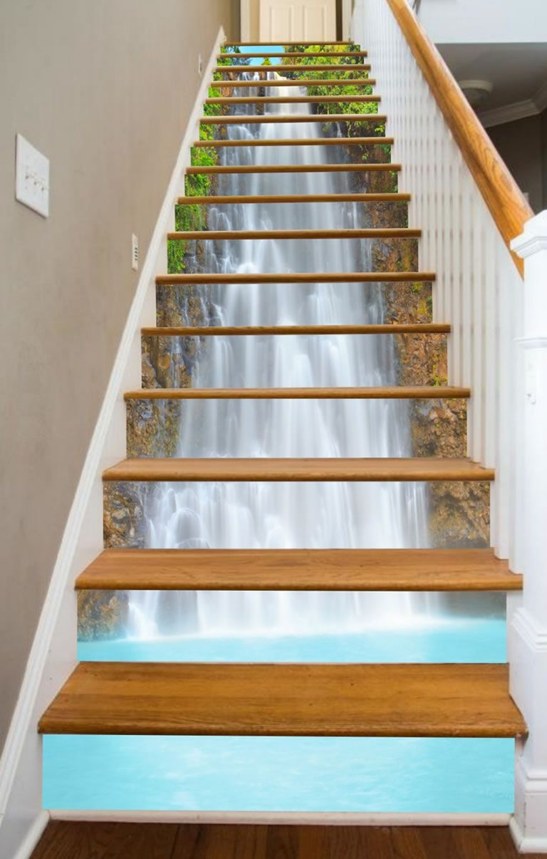 Stairway Art Decorates Your Staircases With Beautiful Climbable Murals Of Paradise Stairway Art Stairways Staircase Design
