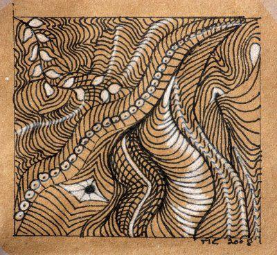 ruskeaa paperia, tusseja ja valkoista vesiväriä --> kauniita kuvioita