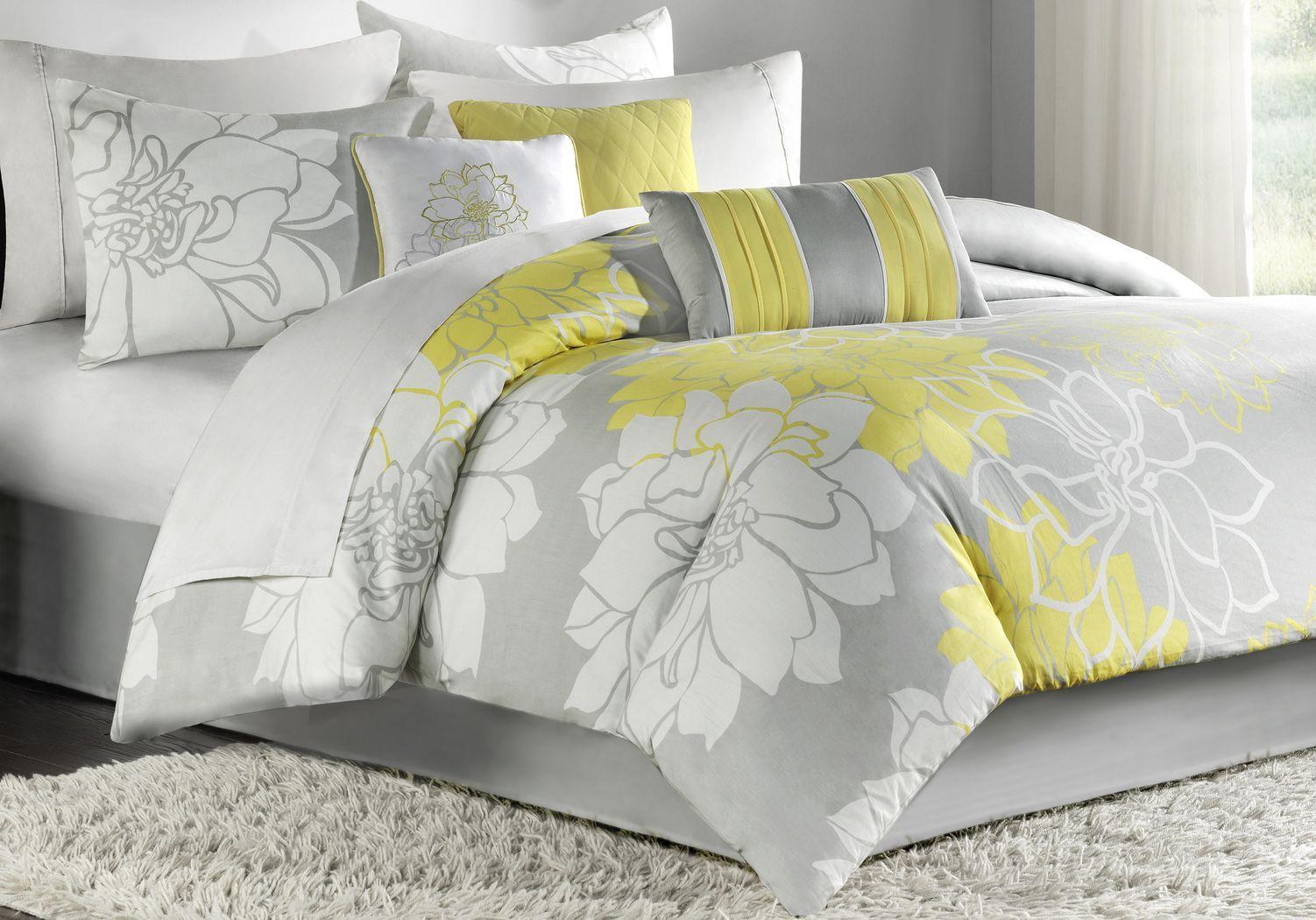 Lola Gray Yellow 7 Pc Queen Comforter Set Comforter Sets Bed