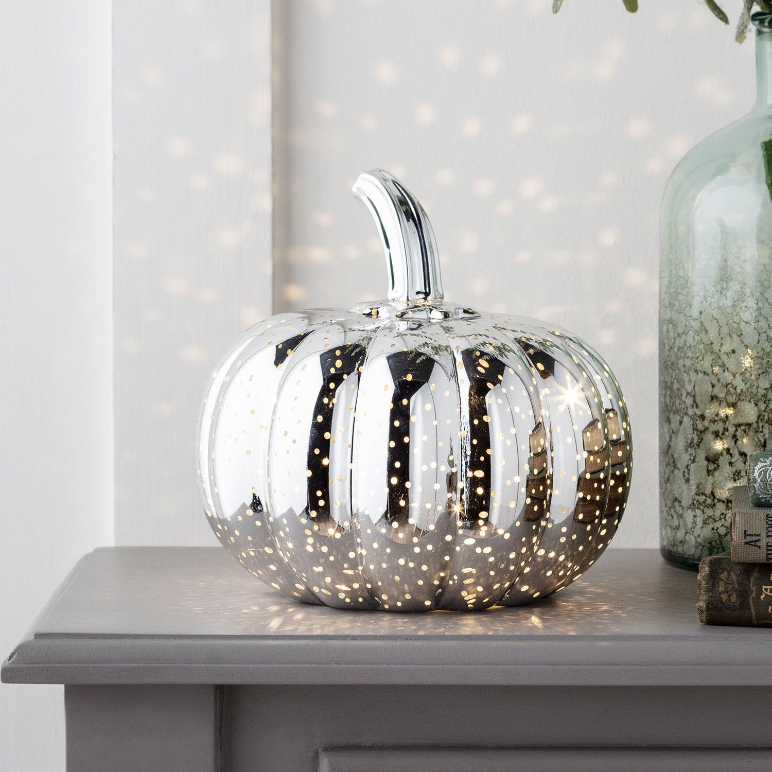 Details about Glass Pumpkin Gold/Silver (D)20cm Warm White