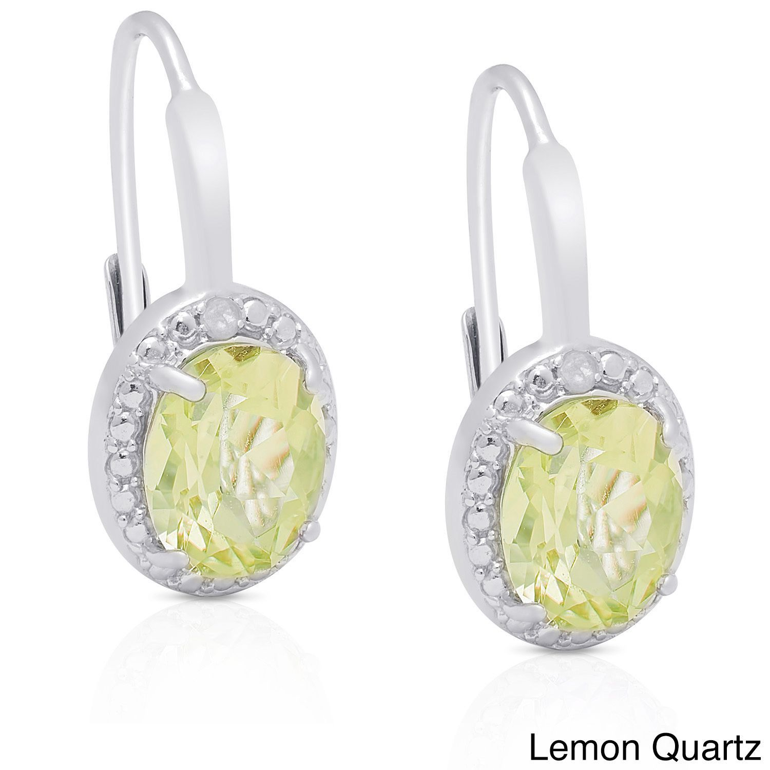 Dolce Giavonna Sterling Silver Gemstone Diamond Accent Circle Leverback Earrings (Lemon Quartz), Women's, Size: Medium, Yellow