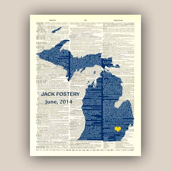 Michigan State Map Art PERSONALIZED graduation gift by PrintLand, $19.50