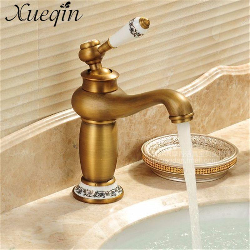 Antique Silver Concise Bathroom Faucet Antique Bronze Solid Brass Basin Hot Cold Water Sink Faucet Single Handle Water Taps Bathroom Fixtures Fixtures Kitchen