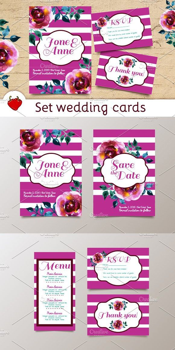 Wedding Set Watercolor Postcards Invitation Templates