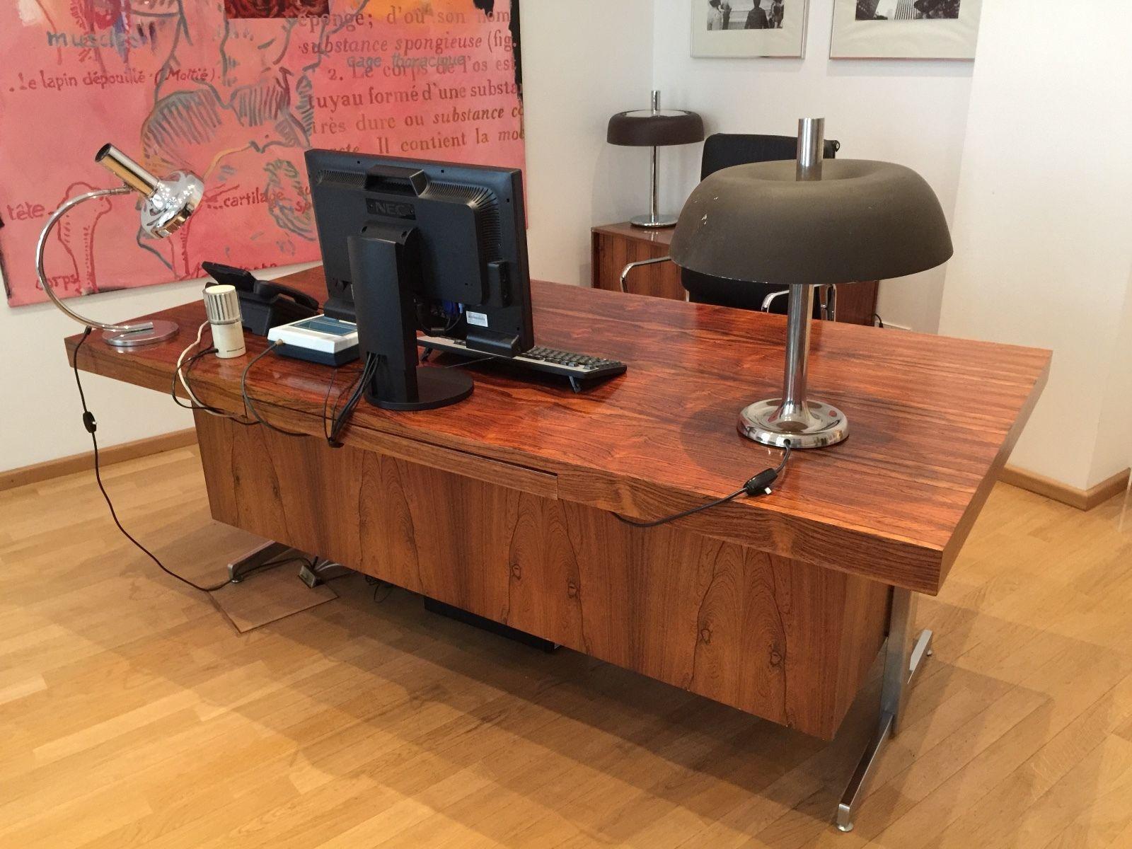 60er 70er Design Chef Büro Schreibtisch BUS Palisander Furnier Mid ...