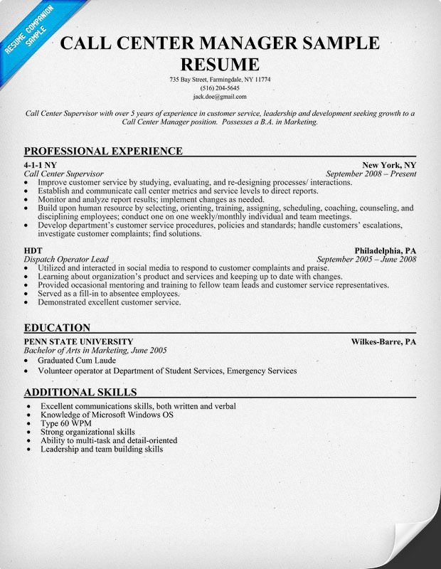 Call Center #Manager Resume Sample (resumecompanion) Resume - call center supervisor job description