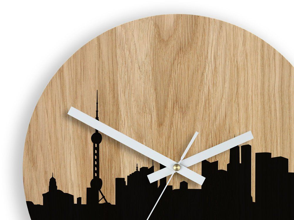 Clock Shanghai China Clock Large Wall Clock Wood Wall Clock