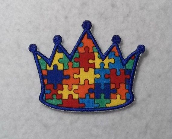 Princess crown autism awareness puzzle piece iron on applique