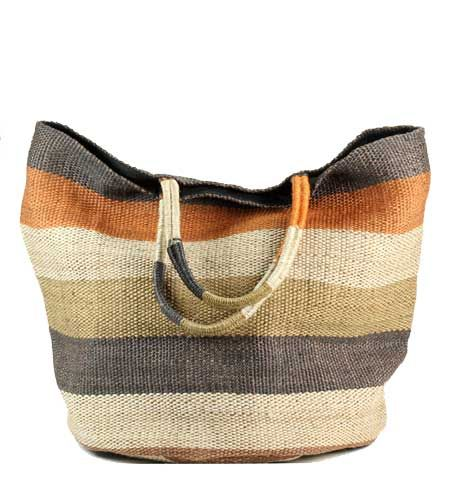 A large, striped Jute tote bag with lining and inside pocket. Strong and sturdy, with a round bottom and wrapped handles.