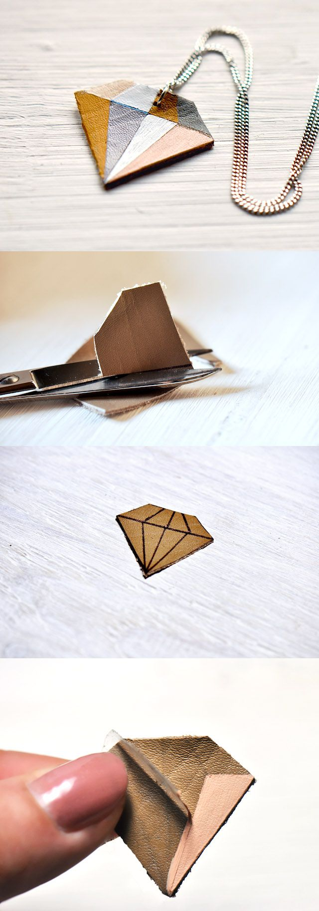 DIY: Geometric Diamond Leather Necklace for leather bling. Might have good tips for how to piece together.