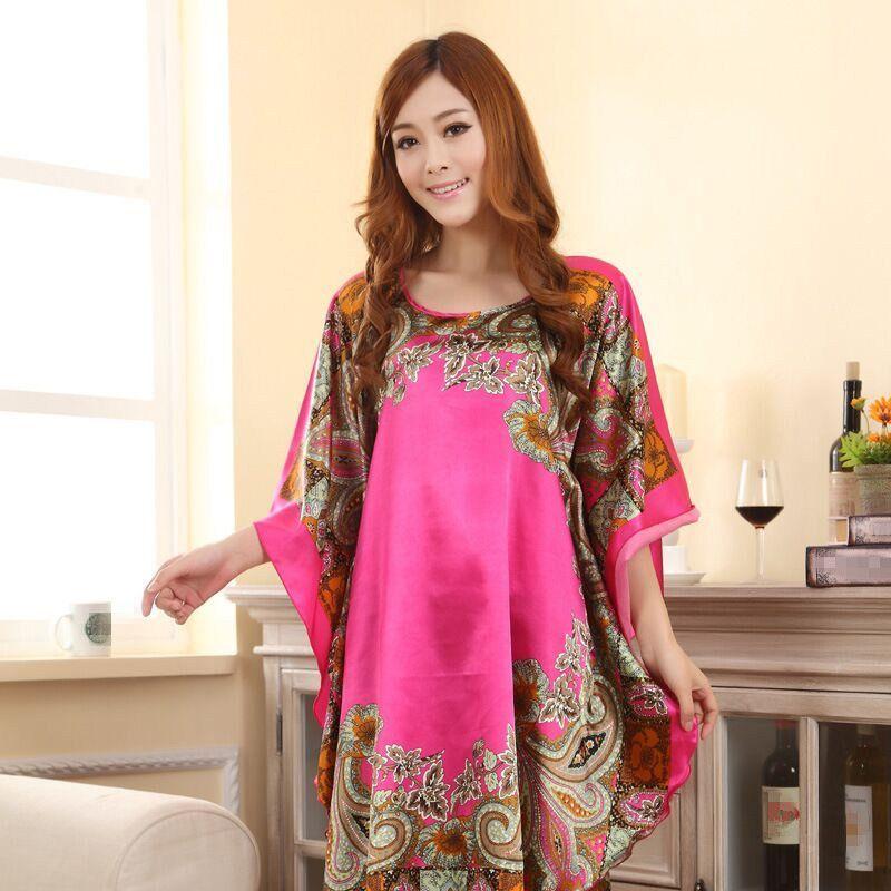 fe48a535de Plus Size Fashion Women Bath Robe Nightgown Pijama Mujer Printed Design  Female Rayon Nightdress Summer Night Gown Zh565X