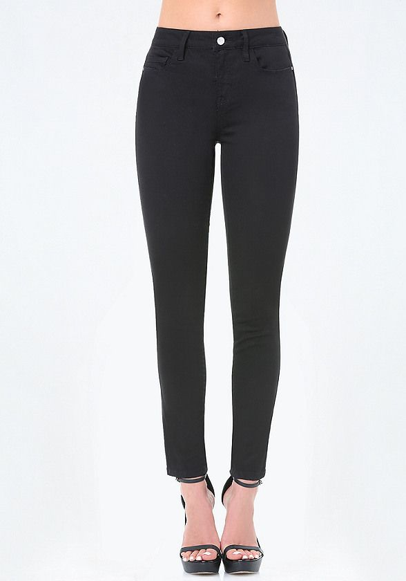 Rock-royalty skinny jeans in a saturated black denim