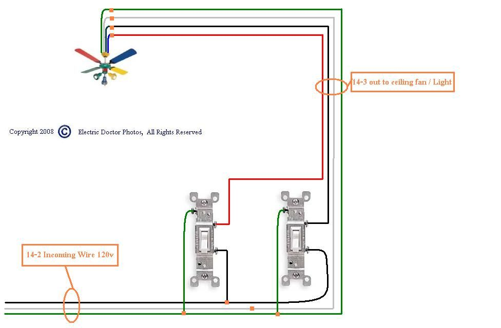 I Have Two Wall Switches For My Ceiling Fan Pre Wire Ceiling Ceiling Fan Wiring Fan Light Ceiling Fan