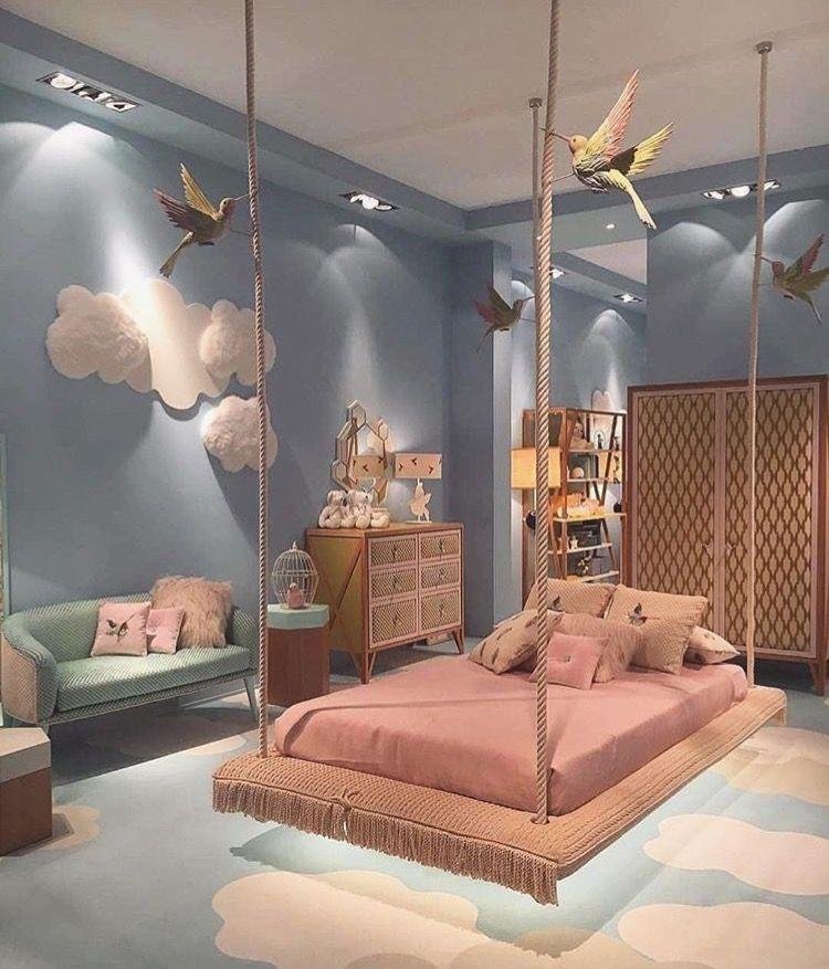 Kids Bedroom Room Design Pastel Bed Birds Pink Light Blue Floating