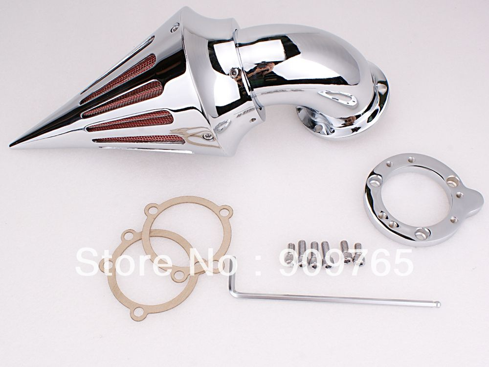 Free Shipping 1 Set Chrome Cone Spike Air Cleaner Intake