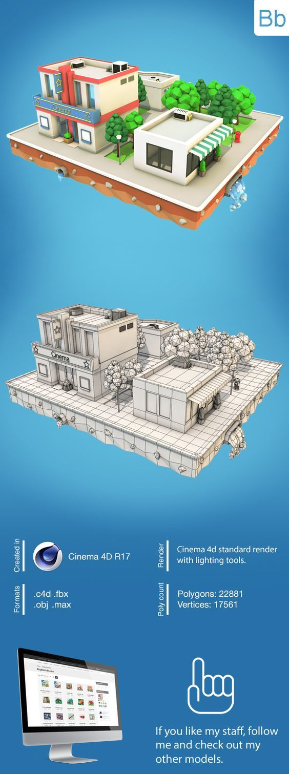 Low Poly City Block with Cinema and Building Download 3D