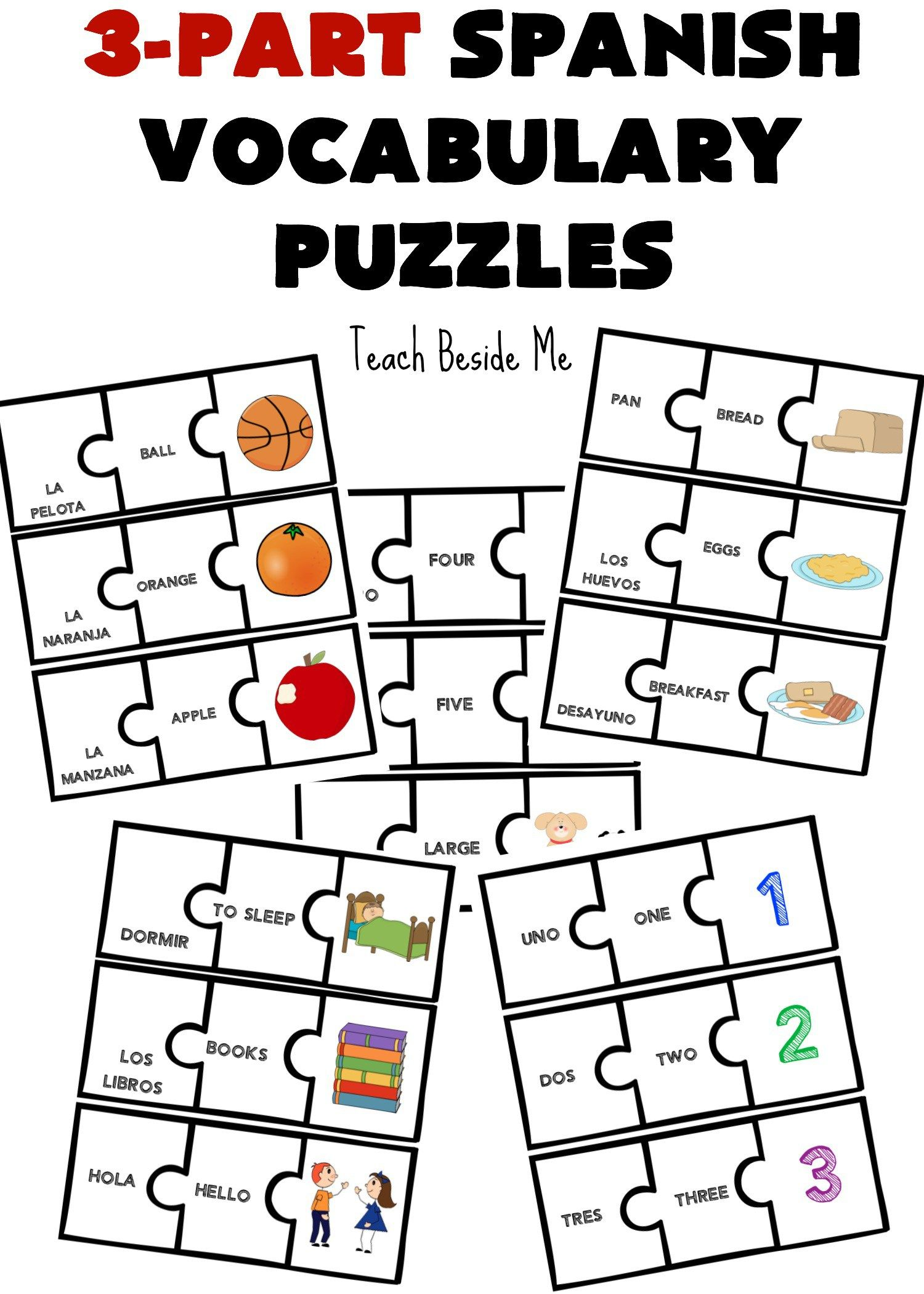 3 Part Spanish Vocabulary Puzzles