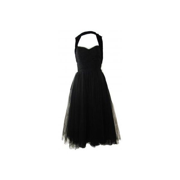 Chanel haute couture 1950's tulle cocktail dress ❤ liked on Polyvore featuring dresses, vestidos, vestiti, chanel, black halter cocktail dress, halter top, neck ties, little black dress and black tie dresses