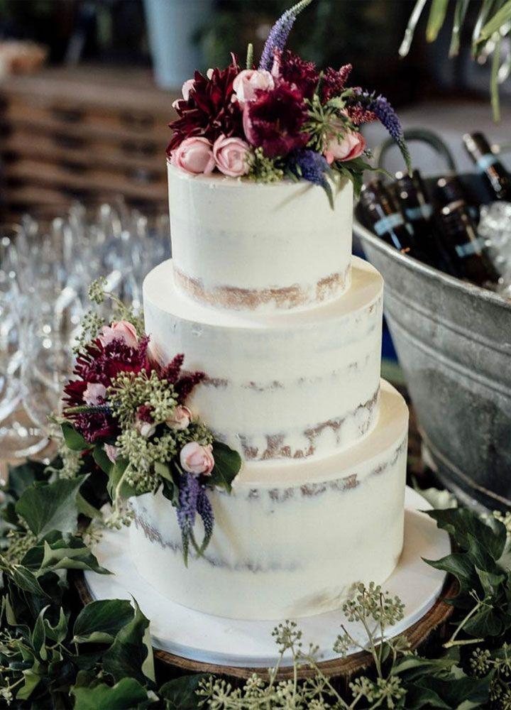 Beautiful Semi Naked Wedding Cake Decorated With Dark Shades Of