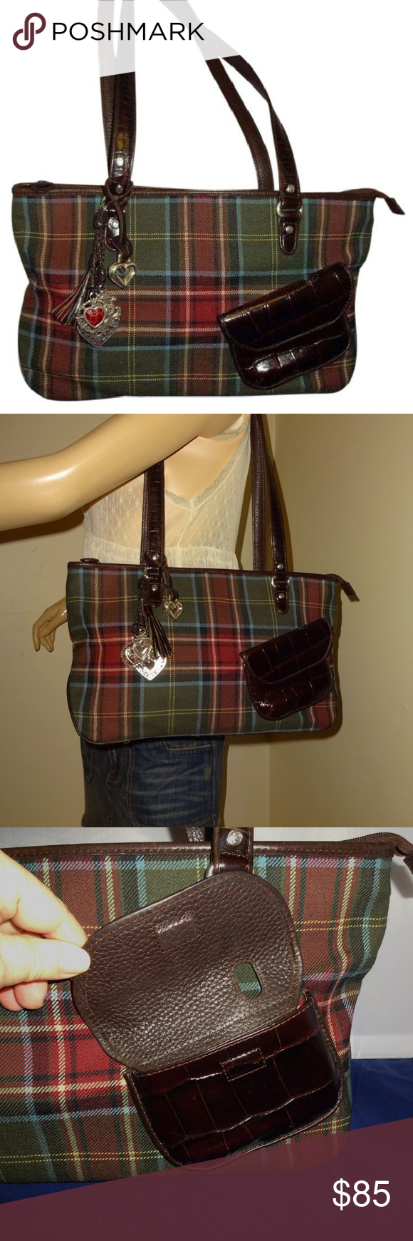 Brighton Large TARTAN Plaid Zip Top McKENNA Tote This large