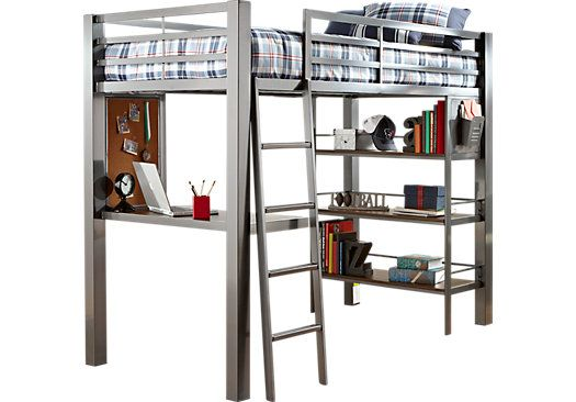 Louie Gray Twin Loft Bed With Desk And Bookcase Dream