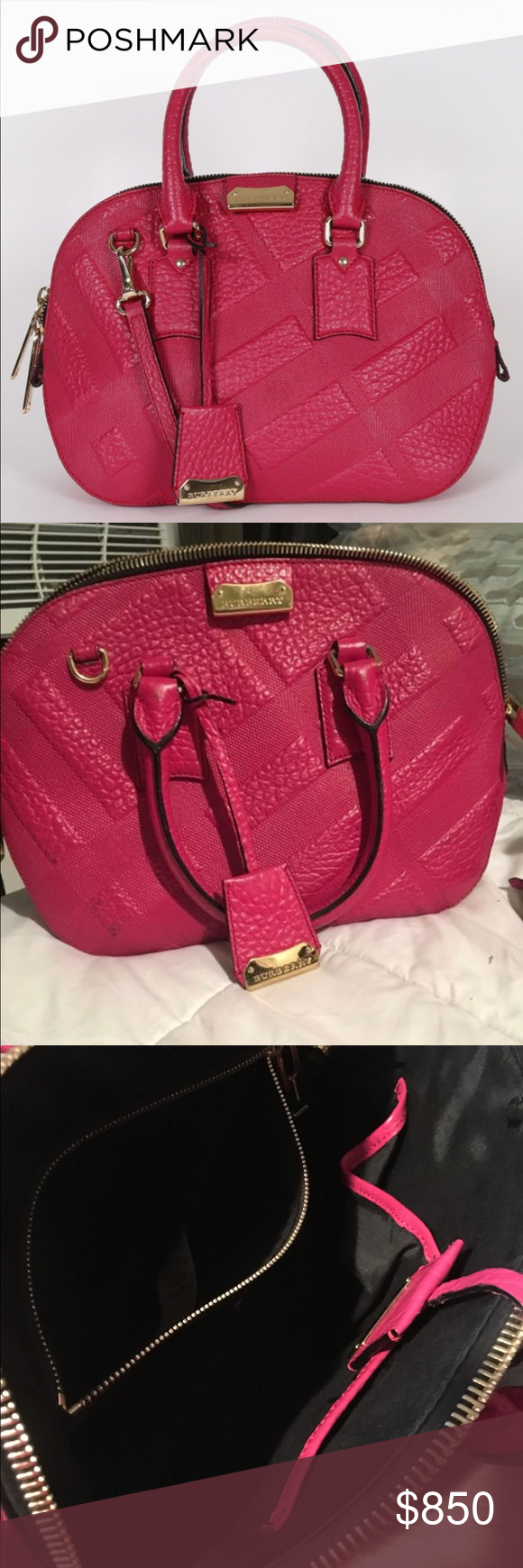 93a1d3064f3 🍃🌸Burberry Orchard Purse EUC Authentic Burberry Small Orchard Check  Embossed Vibrant Fuschia Leather satchel