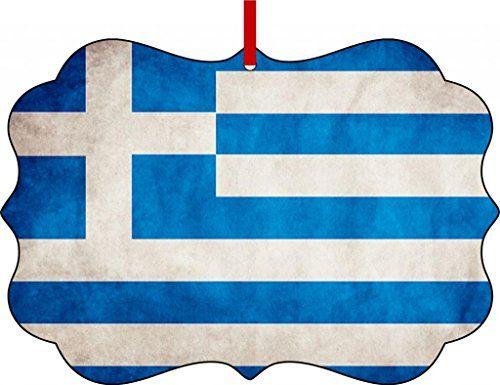 YaSascomOrnaments Greek Flag Aluminum Christmas Ornament with a