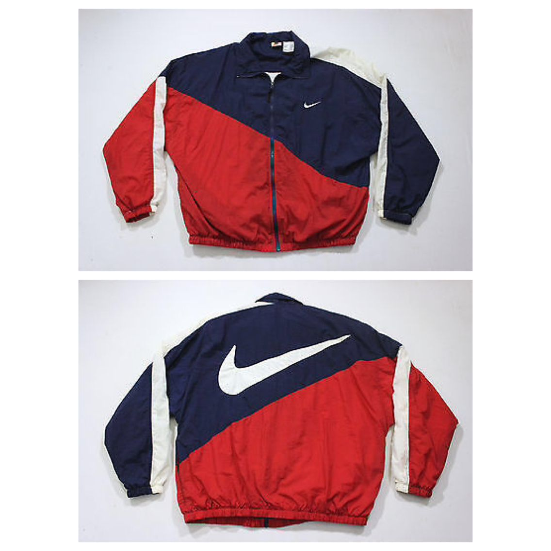 NIKE Windbreaker Jacket Vintage 90's Nylon Shell Zip Jacket Striped Color Block Nike Sportswear Embroidered L Usa