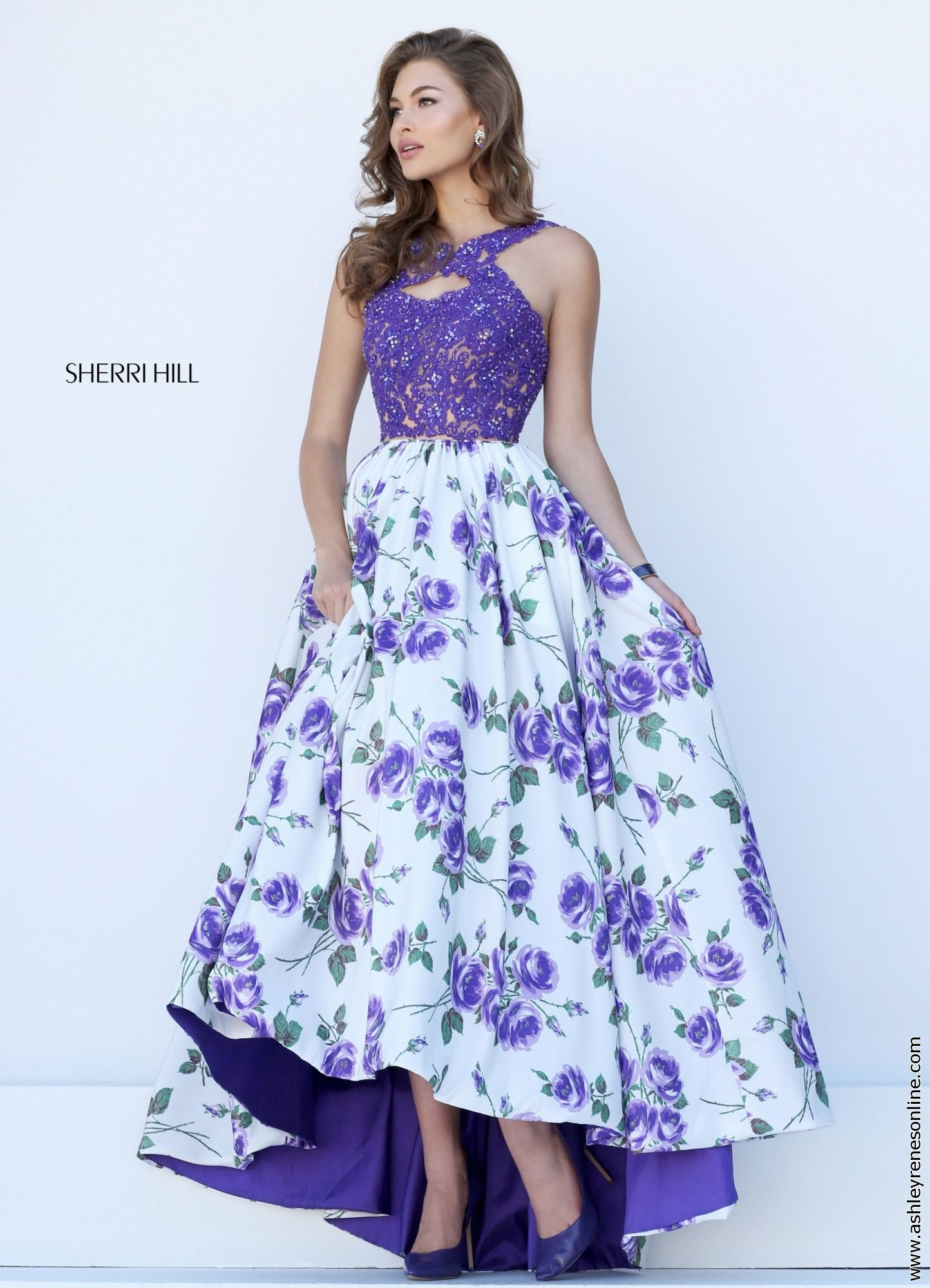 Sherri Hill 50481 Purple Print Prom Dress A Line