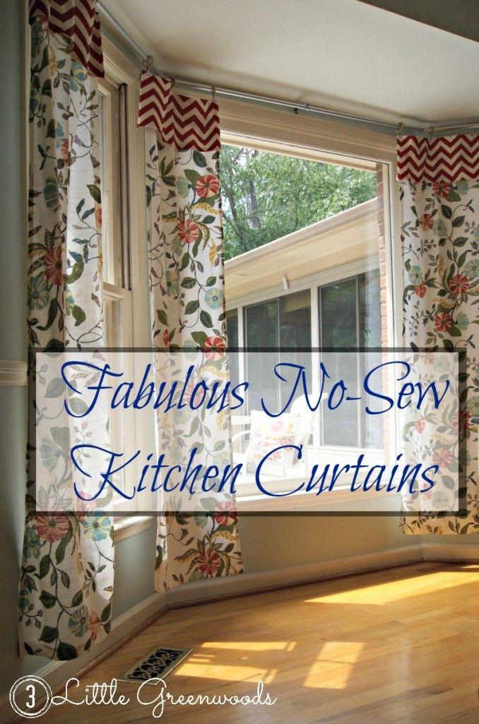 no sew kitchen curtains from tablecloths craft ideas pinterest rh pinterest com Victorian Retro Kitchen Curtain Bath No Sew Curtains