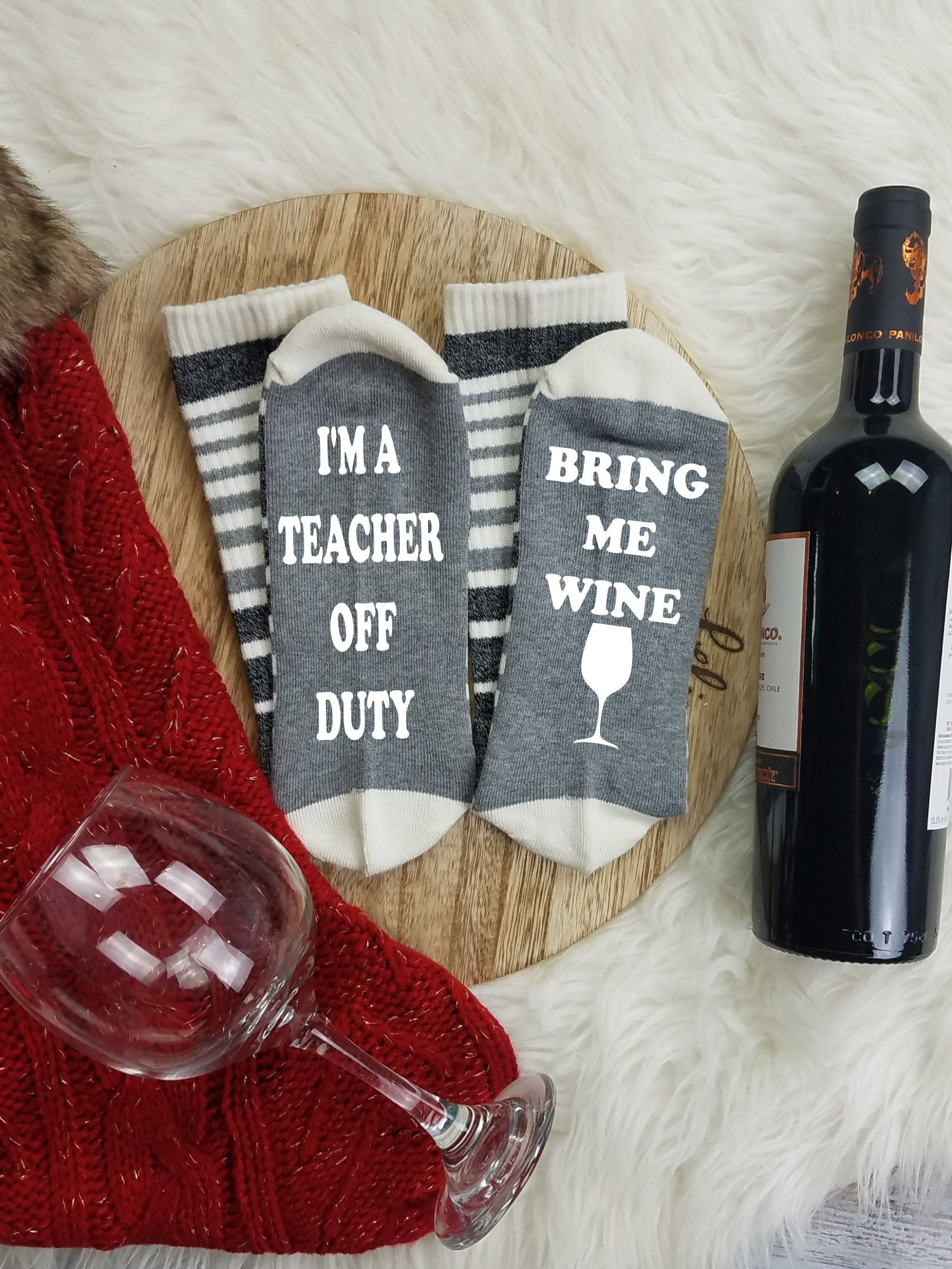 Gift For Teachers Under 20 Dollars Graduation Gift If You Etsy Teacher Valentine Gifts Wine Socks Gifts For My Sister