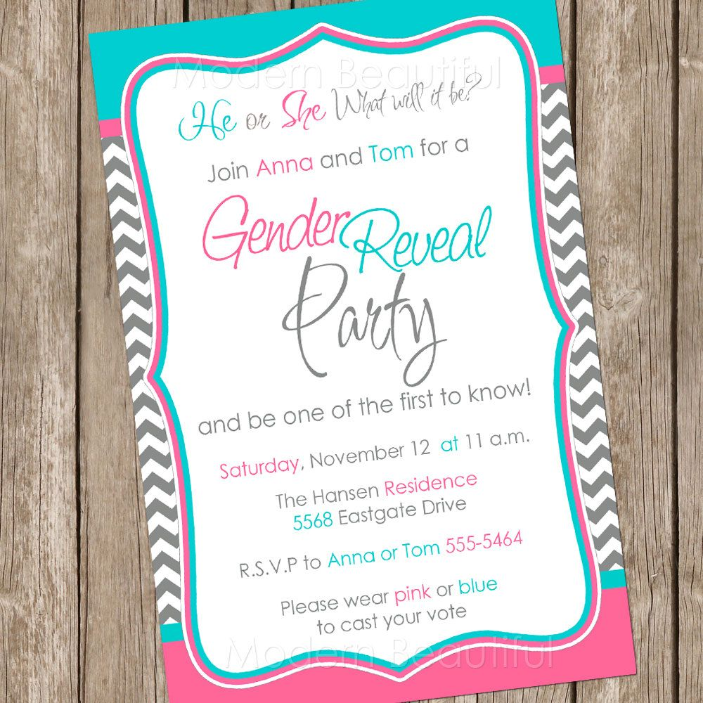 Gender Reveal Invitation Baby Reveal Invite by ModernBeautiful